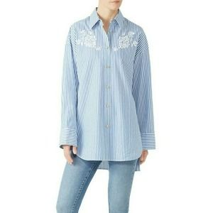 Coach Stripe Embroidered Button Up Long Shirt 6
